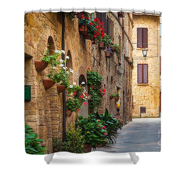 Pienza Street Shower Curtain