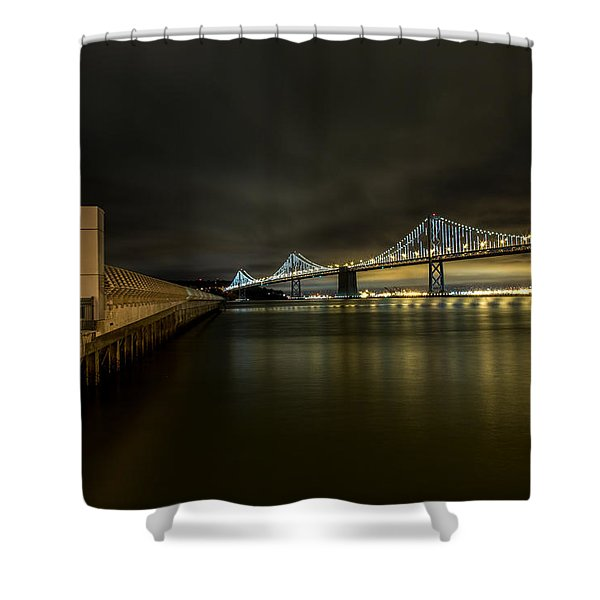 Pier 14 And Bay Bridge At Night Shower Curtain