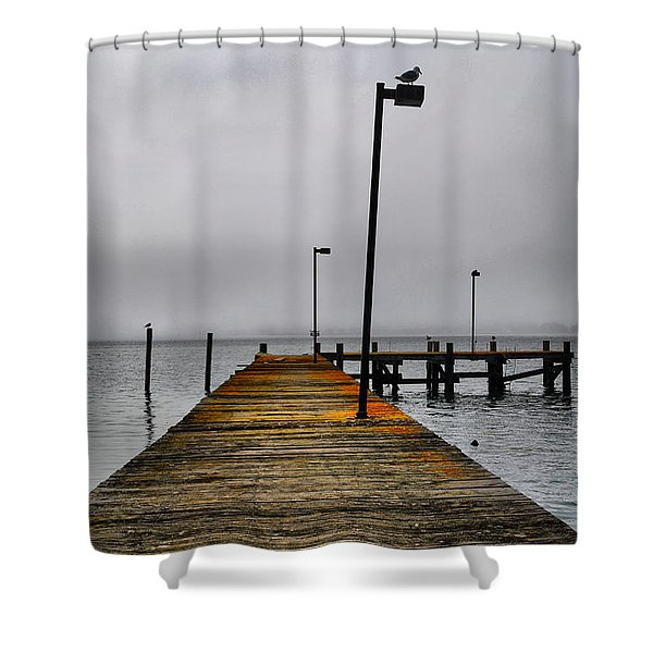 Pier Into The Fog Shower Curtain