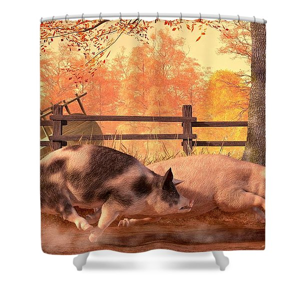 Pig Race Shower Curtain