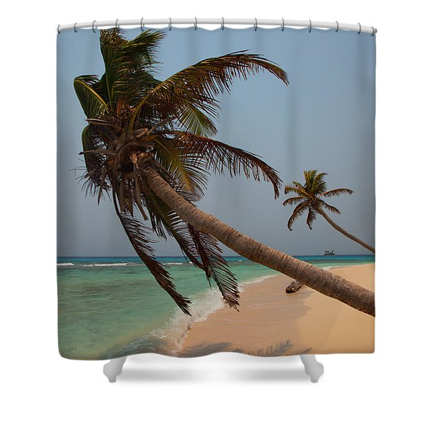 Pigeon Cays Palm Trees Shower Curtain