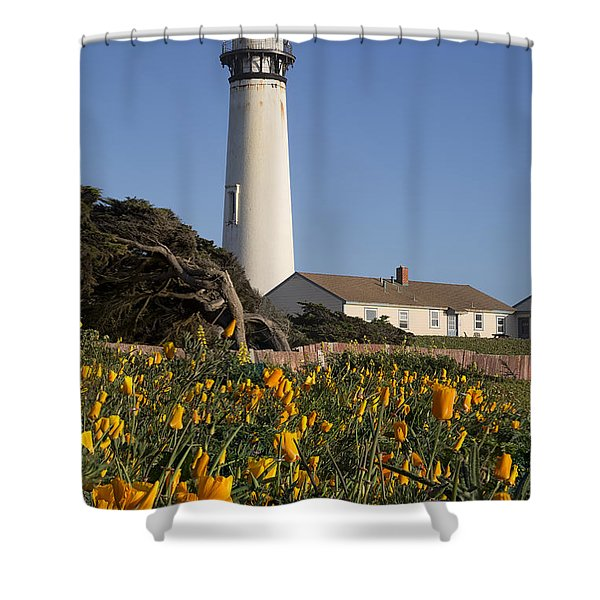 Pigeon Point Lighthouse And California Poppies Shower Curtain