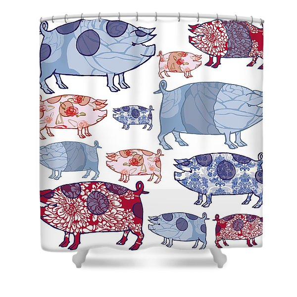 Piggy In The Middle Shower Curtain