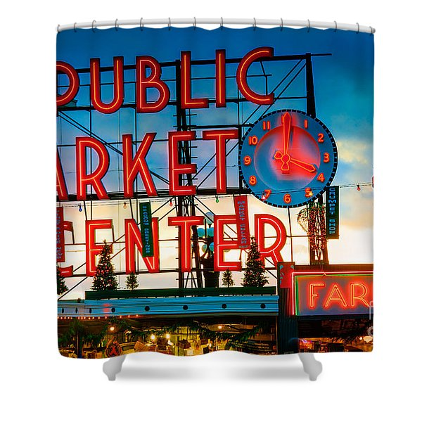 Pike Place Holidays Shower Curtain