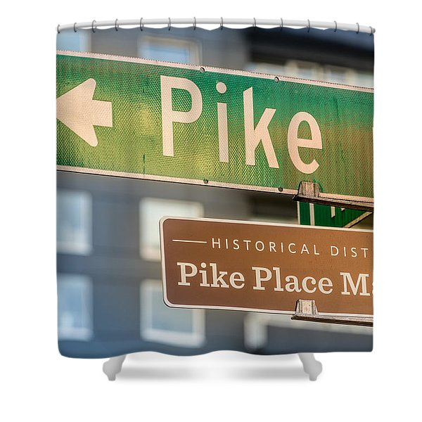 Pike Place Market Sign Shower Curtain