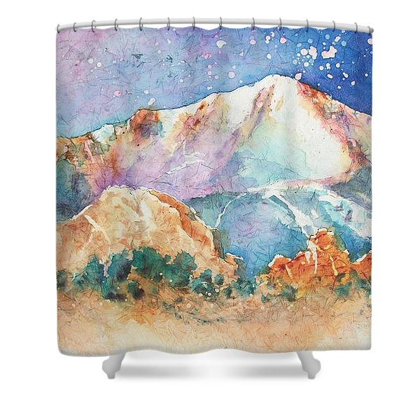 Pikes Peak Over The Garden Of The Gods Shower Curtain