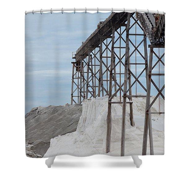 Pile Of Sea Salt Under Conveyor Of Saline Refinery Shower Curtain