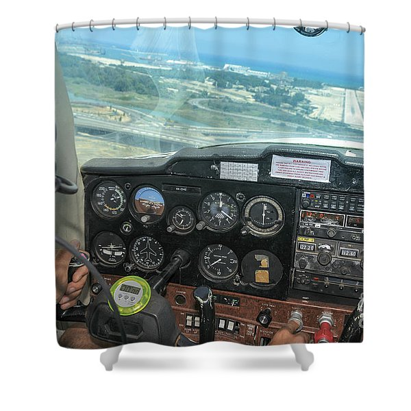 Pilot In Cessna Cockpit Shower Curtain
