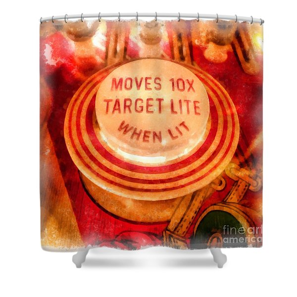 Pinball Machine Watercolor Shower Curtain