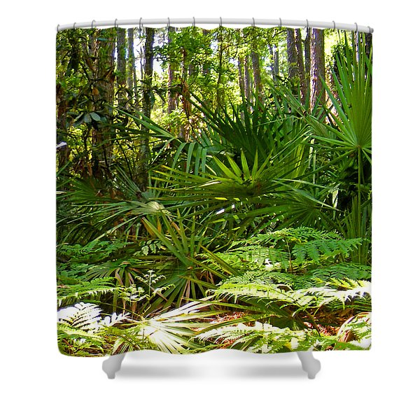 Pine And Palmetto Woods Filtered Shower Curtain