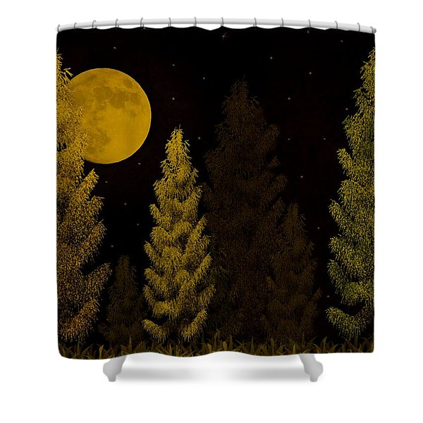 Pine Forest Moon Shower Curtain