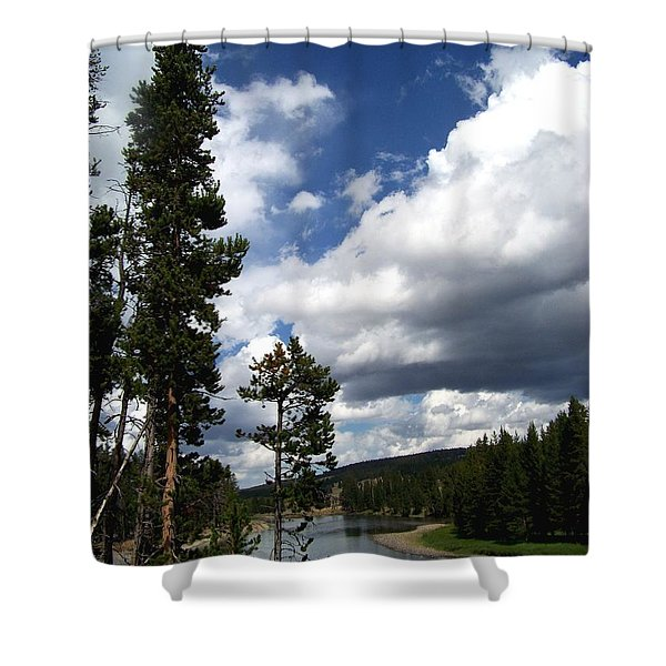 Pine On The Yellowstone River Shower Curtain