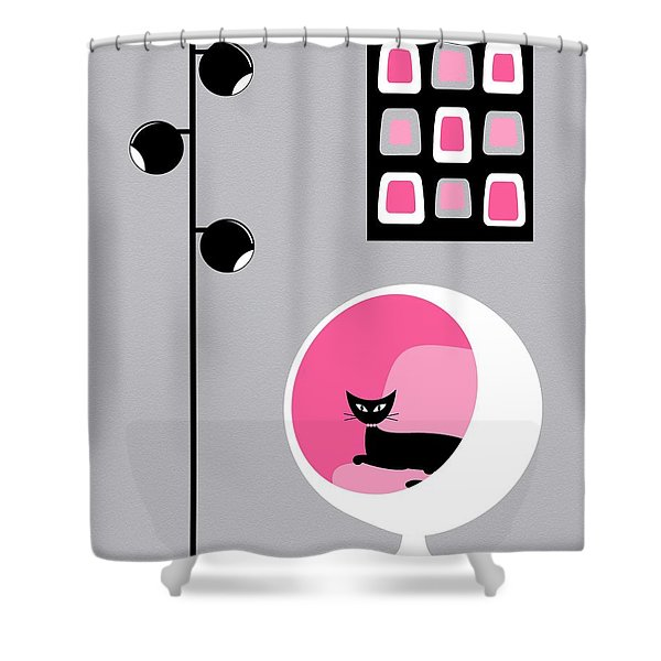 Pink 1 On Gray Shower Curtain