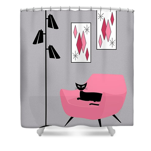Pink 2 On Gray Shower Curtain