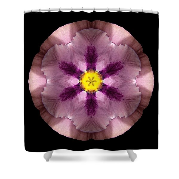 Pink And Purple Pansy Flower Mandala Shower Curtain