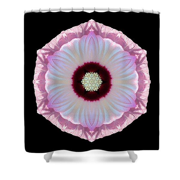 Pink And White Hibiscus Moscheutos Vii Flower Mandala Shower Curtain