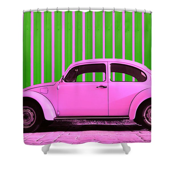Pink Bug Shower Curtain