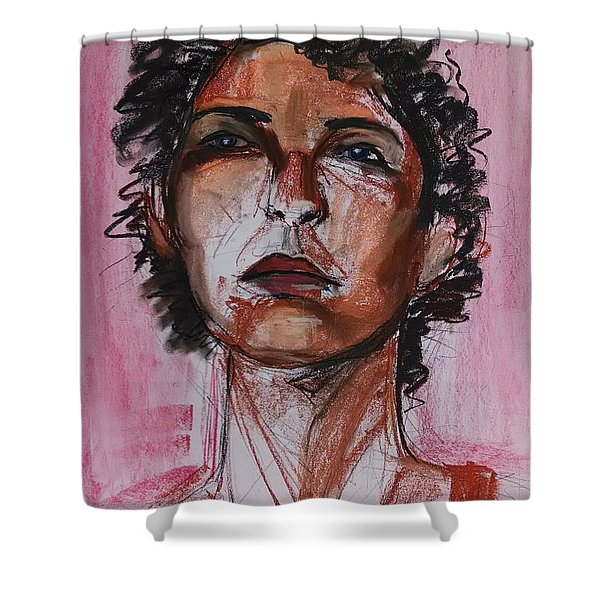 Shower Curtain featuring the drawing Pink  by Gabrielle Wilson-Sealy
