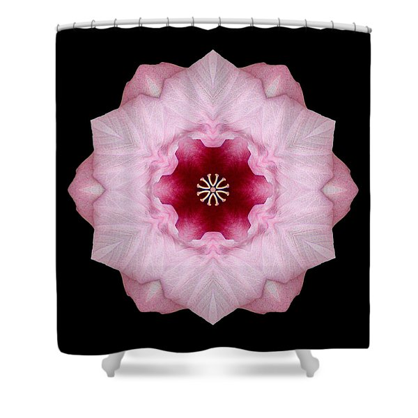Pink Hibiscus I Flower Mandala Shower Curtain