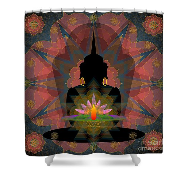 Pink Lotus Buddha Shower Curtain