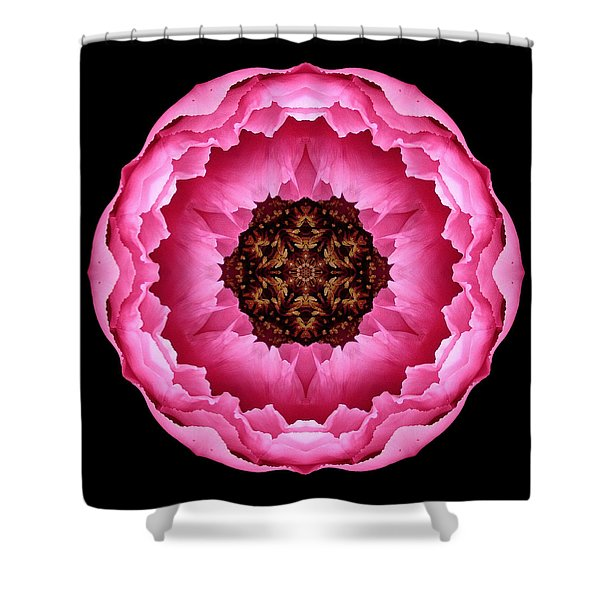 Pink Peony Flower Mandala Shower Curtain