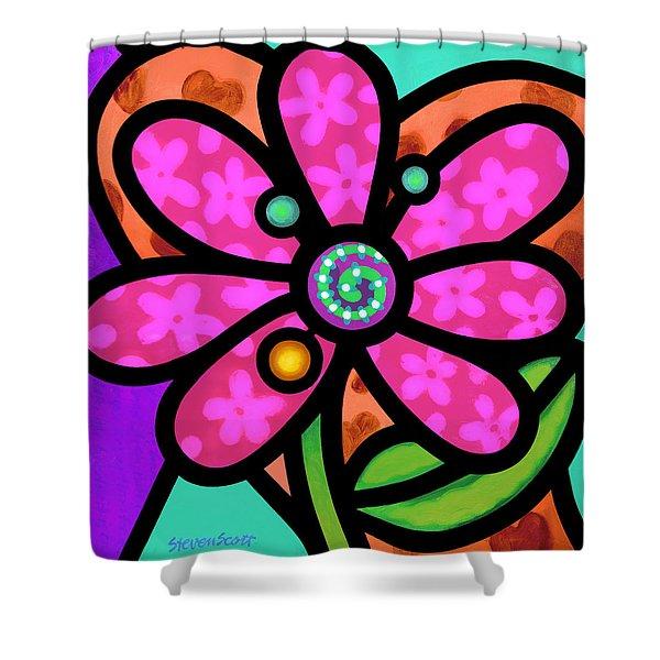 Pink Pinwheel Daisy Shower Curtain