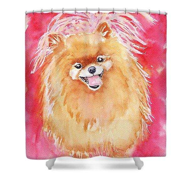 Pink Pom Shower Curtain