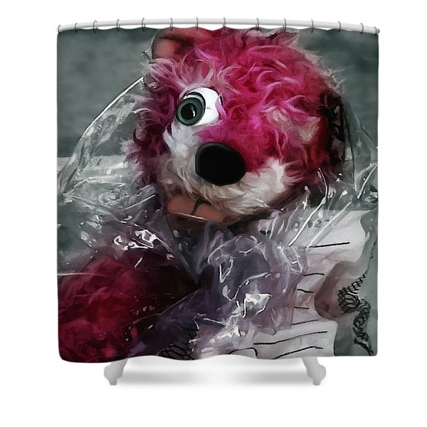 Pink Teddy Bear In Evidence Bag @ Tv Serie Breaking Bad Shower Curtain