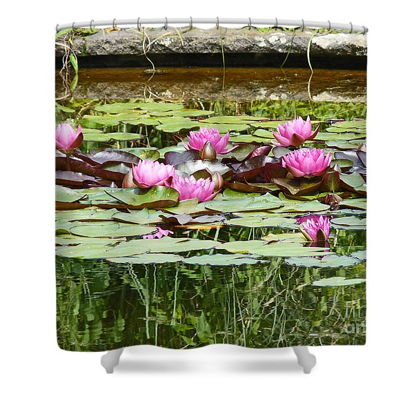 Pink Water Lilies Shower Curtain
