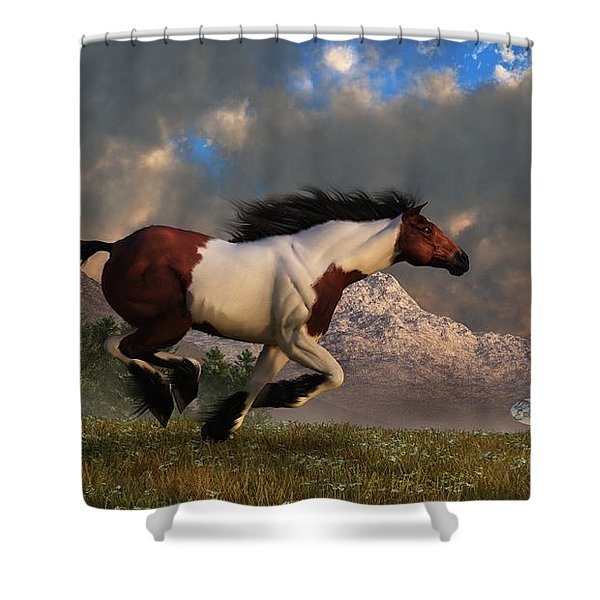 Pinto Mustang Galloping Shower Curtain