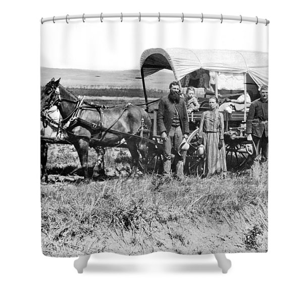 Pioneer Family And Wagon Shower Curtain