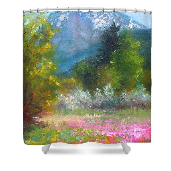 Pioneer Peaking - Flowers And Mountain In Alaska Shower Curtain