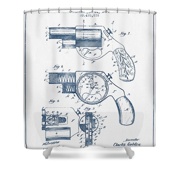 Pistol Patent From 1892 -  Blue Ink Shower Curtain