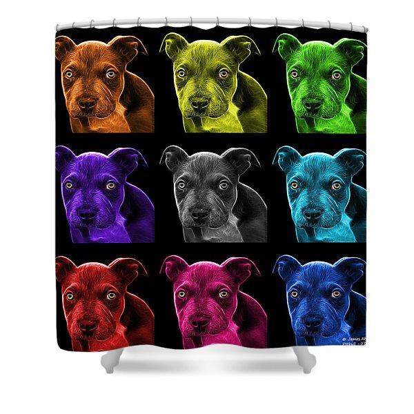 Pitbull Puppy Pop Art - 7085 Bb - M Shower Curtain