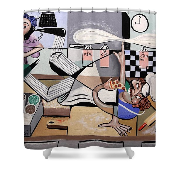 Shower Curtain featuring the painting Pizza Break by Anthony Falbo