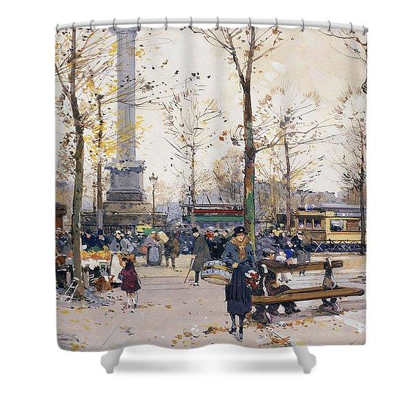 Place De La Bastille Paris Shower Curtain