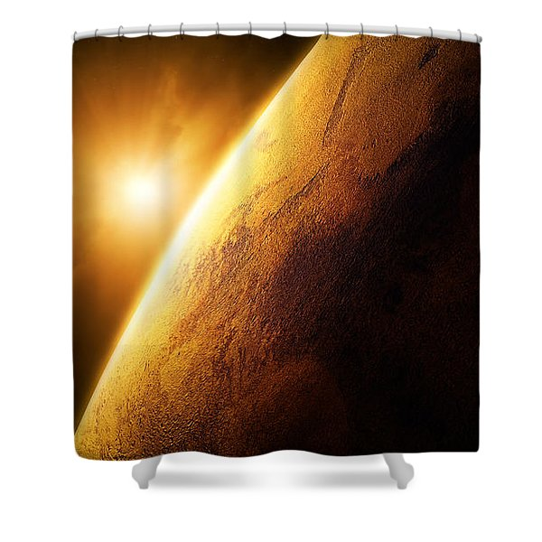 Planet Mars Close-up With Sunrise Shower Curtain