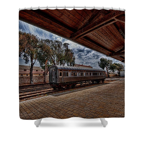 platform view of the first railway station of Tel Aviv Shower Curtain