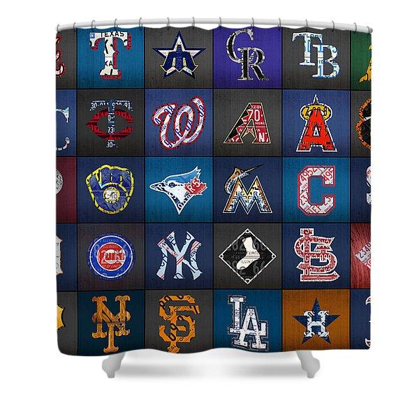 Play Ball Recycled Vintage Baseball Team Logo License Plate Art Shower Curtain