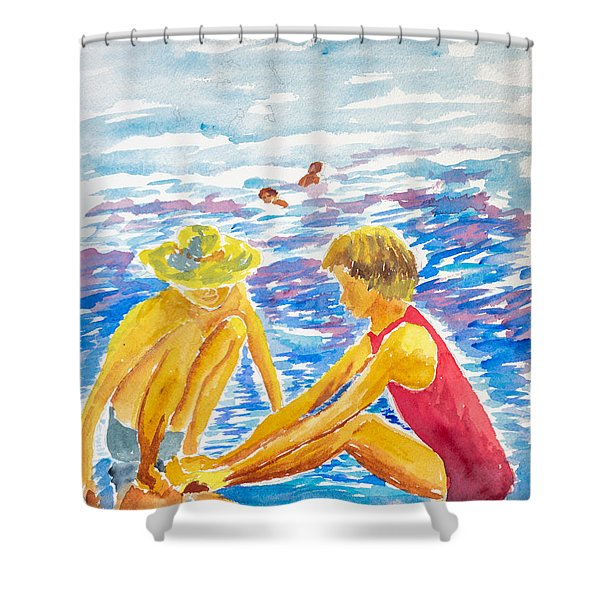 Playing On The Beach Shower Curtain