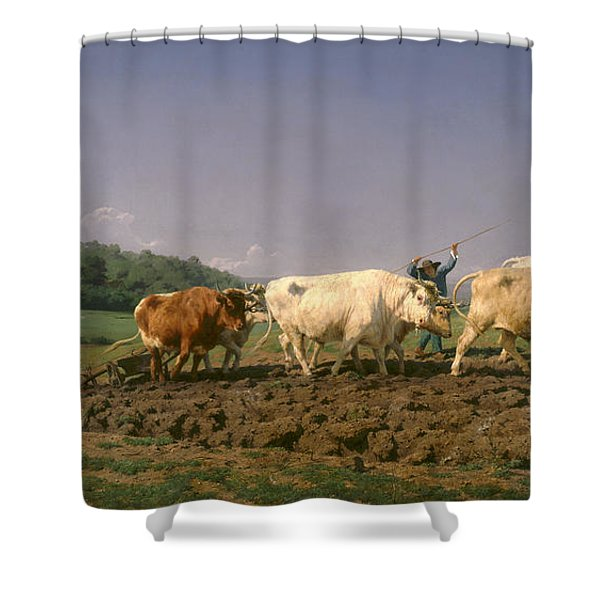 Ploughing In Nevers Shower Curtain