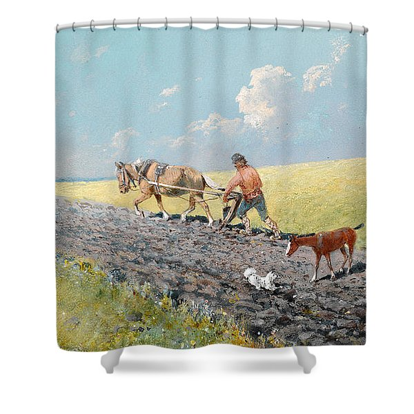 Ploughing The Field Shower Curtain