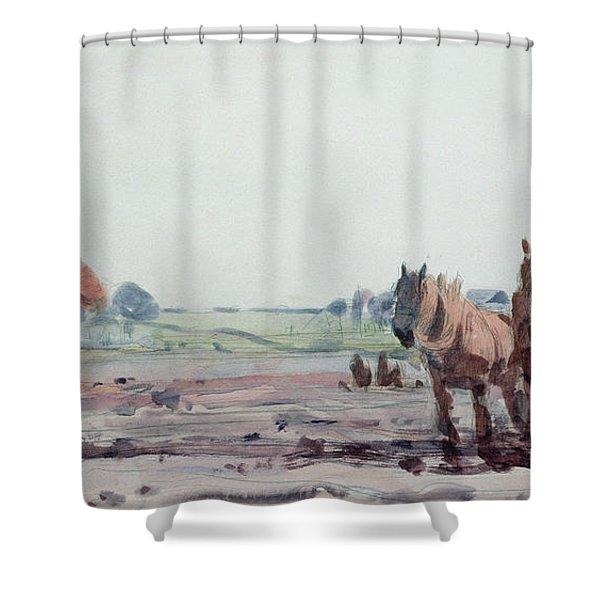 Plow Horses Shower Curtain