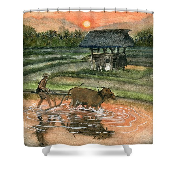 Plowing The Ricefield Shower Curtain