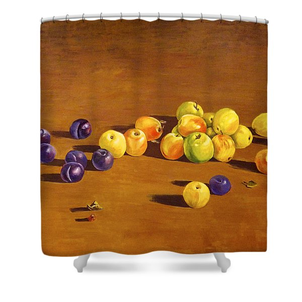 Plums And Apples Still Life Shower Curtain