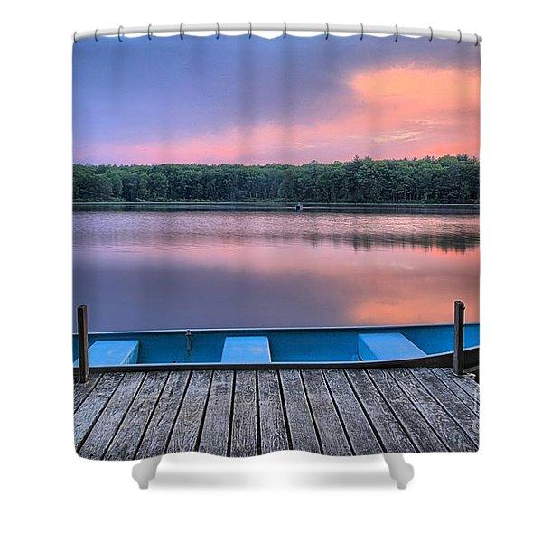Poconos Lake Whitney Sunset Rowboat Shower Curtain