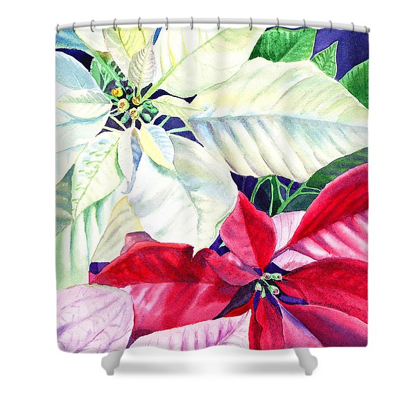 Poinsettia Christmas Collection Shower Curtain