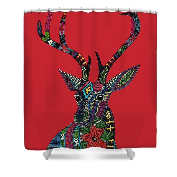 Poinsettia Deer Head Red Single Shower Curtain