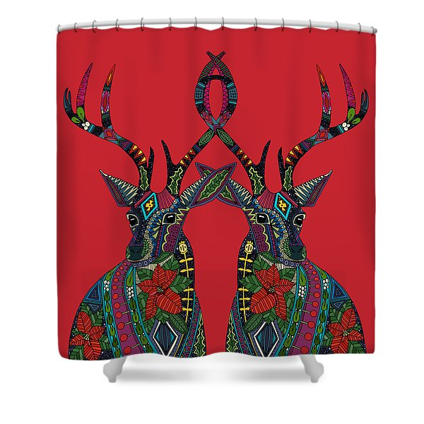 Poinsettia Deer Red Shower Curtain