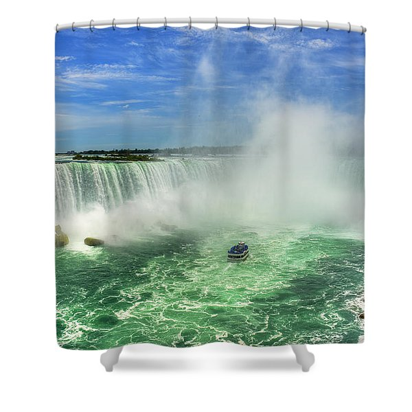 Point Of Land Cut In Two.. Shower Curtain